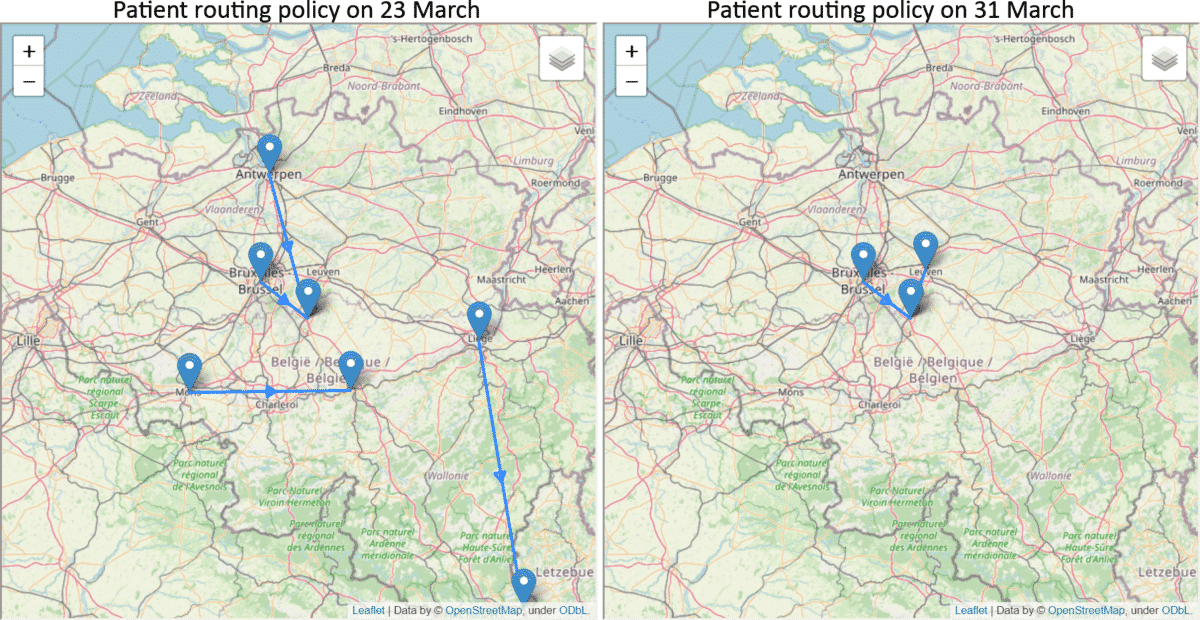 A map showing patient routing in Belgium