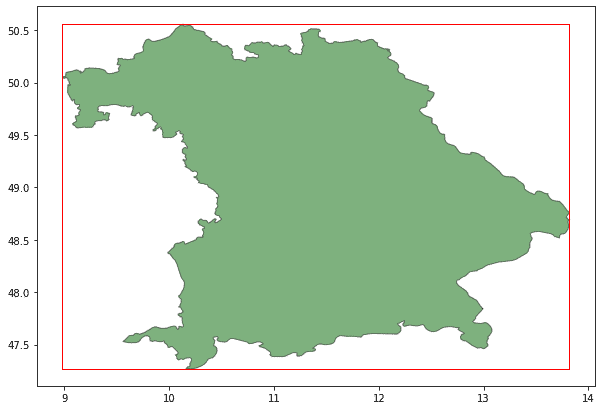 A map of Bavaria and its geospatial bounding box shown as a red rectangle