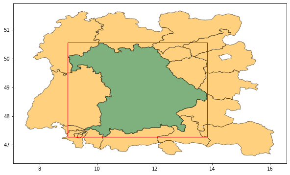 A map of Bavaria, its bounding box, and the regions loaded by geopandas after applying the box filter