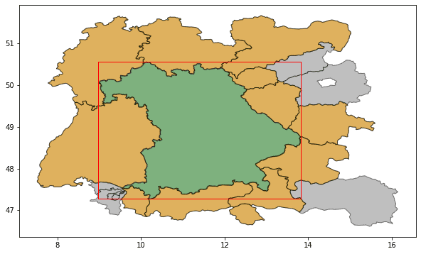 A map of Bavaria and its direct neighbours it shares a land border with