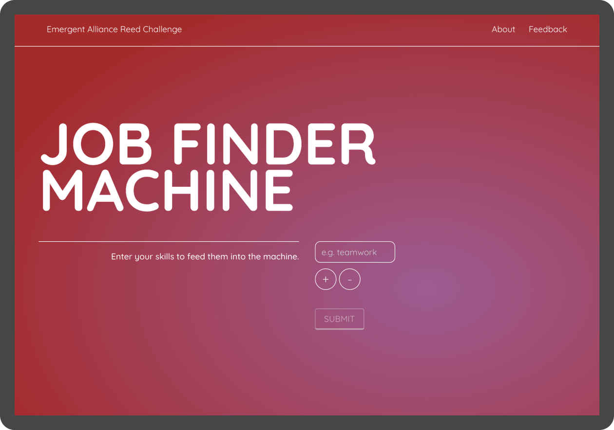 A screen showing the new Job Finder Machine from Reed